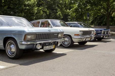 Drei Gesichter, zwei Generationen: Kapitän B (Baujahr 1969), Admiral A V8 (1965) und Diplomat B V8 (1969, von links) beim Familientreffen.