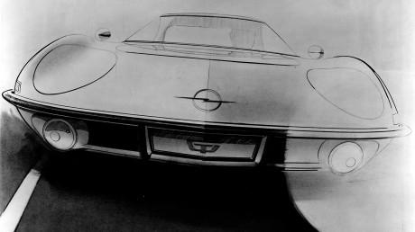 """Eine """"Kult""""-Skizze des Opel Experimental GT vom damaligen Leiter des Opel-Zukunftsdesigns, Erhard Schnell. Die Abteilung war konkurrenzlos in der europäischen Automobilindustrie und nahm ihre Arbeit mit dem 1965 auf der Frankfurter IAA präsentierten Experimental GT auf – einem außergewöhnlichen Sportwagen, den man sich leisten konnte."""