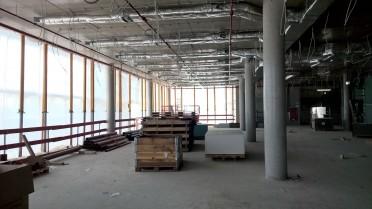 Blick in den Rohbau: Hier im ersten Stock des siebengeschossigen Gebäudes wird künftig die Kantine zu finden sein.