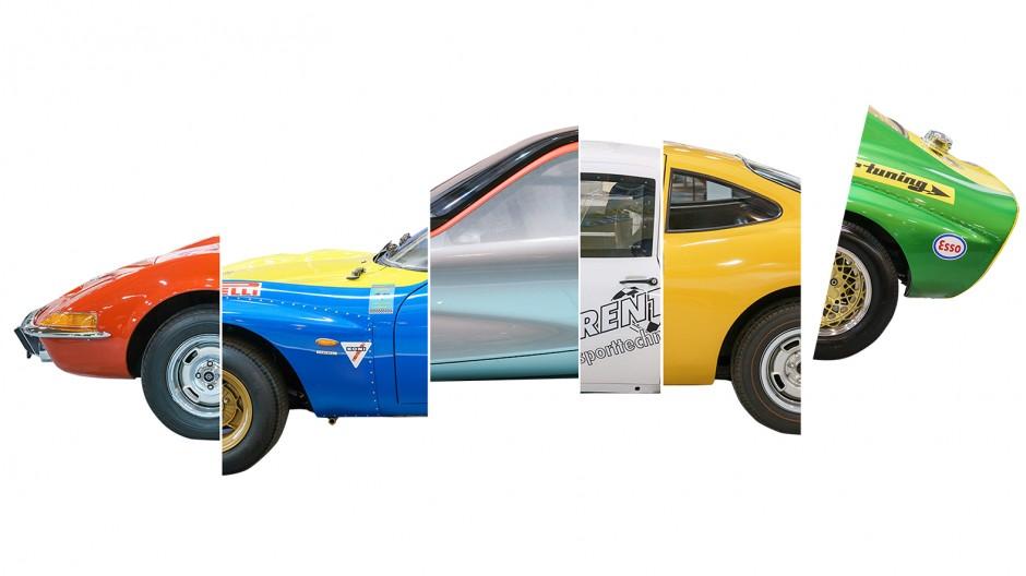 Lebende Legenden sind facettenreich, so auch der GT von Opel: Diese Collage enthält den Serien-GT, den GT Conrero, den GT Concept, den GT Gerent, den Experimental GT und den GT Irmscher (v.l.), allesamt auf der Techno Classica 2016 in Essen ausgestellt.
