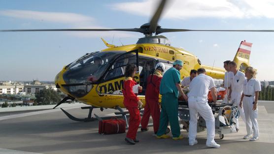 Landung im Krankenhaus