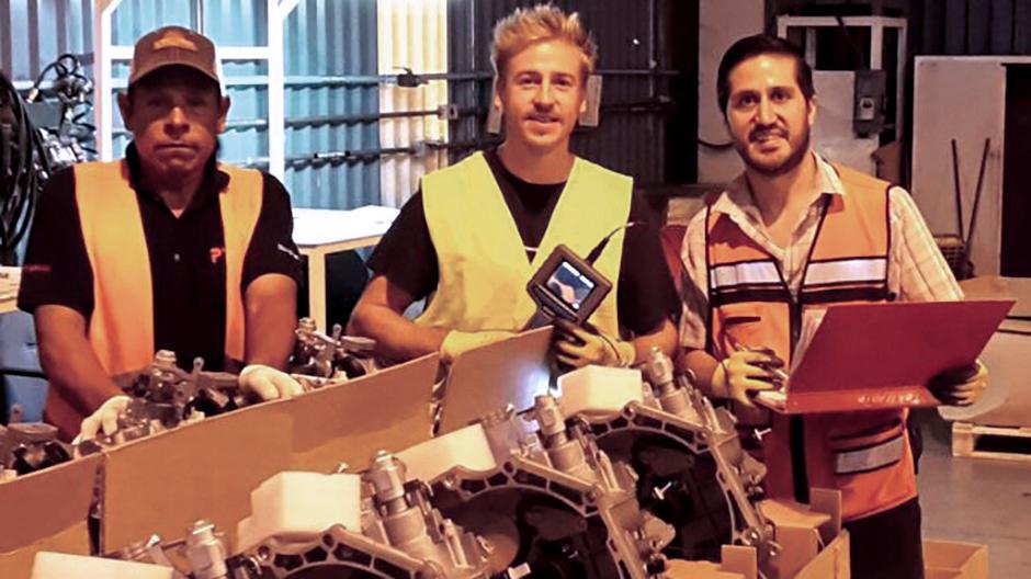 In Ramos Arizpe (v.l.n.r.): Ismael, Thomas Gabmayr, Resident Engineer Carlos Felipe Gonzales