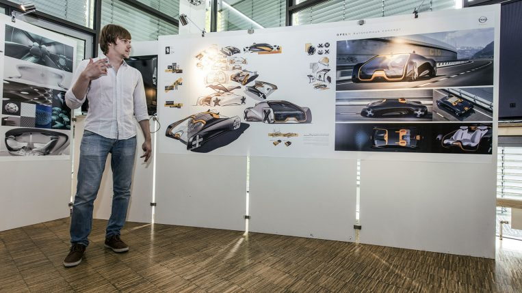 Welcome to Opel: The successful student, Roman Zenin begins his six-month internship at the Design Center in Rüsselsheim.