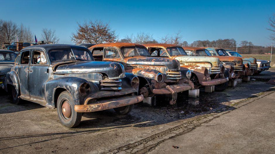 Stehen stramm in einer Reihe: Diese Opel-Kapitäne haben viel gesehen und erlebt, jetzt schmücken sie Degeners Freilichtmuseum.