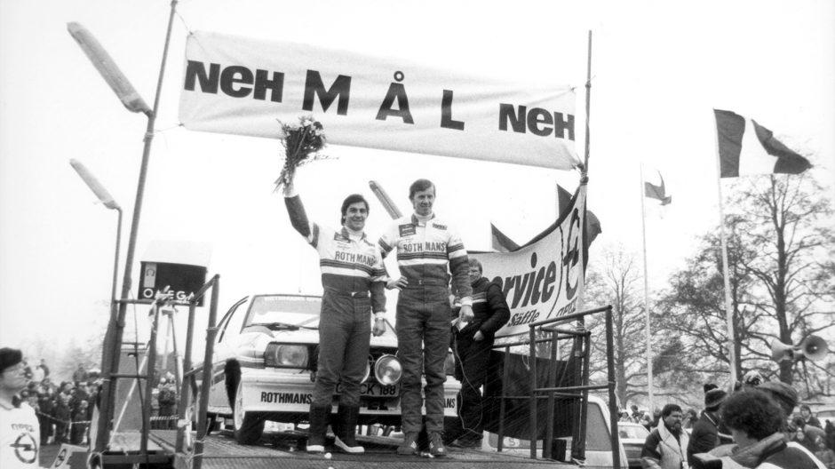71021_Schweden Rallye 1982 In Schweden erreichen Walter Röhrl und Christian Geistdörfer auf Opel Ascona B 400 den dritten Platz